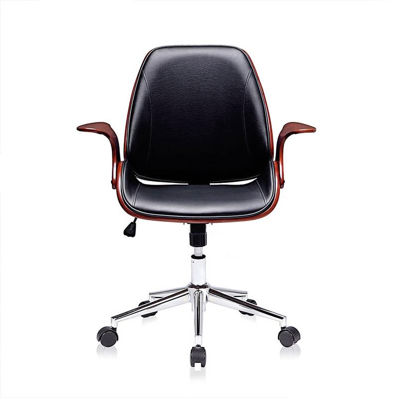 2schwarz-braun-Sadie-Design-Stuhl-Retro-Büro-Hocker-Esszimmerstuhl-Vintage-Bürostuhl-Kunstleder