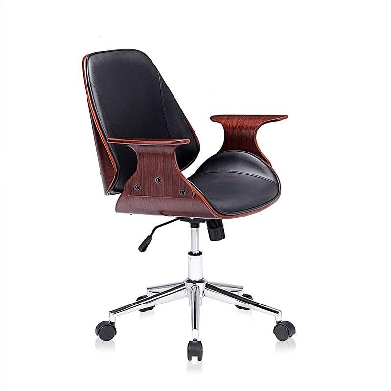 schwarz-braun-Sadie-Design-Stuhl-Retro-Büro-Hocker-Esszimmerstuhl-Vintage-Bürostuhl-Kunstleder3
