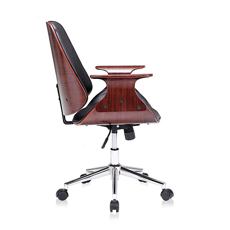 schwarz-braun-Sadie-Design-Stuhl-Retro-Büro-Hocker-Esszimmerstuhl-Vintage-Bürostuhl-Kunstleder7